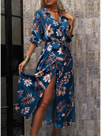 Blomstrete Trykk A-line kjole Trekvart ermer Maxi Avslappet Ferie Skjorte skater Motekjoler