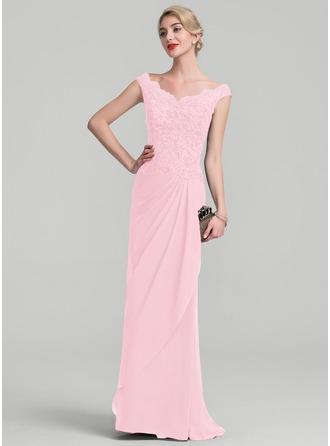 A-Linie/Princess-Linie Off-the-Schulter Bodenlang Chiffon Spitze Kleid für die Brautmutter mit Perlstickerei Pailletten Gestufte Rüschen