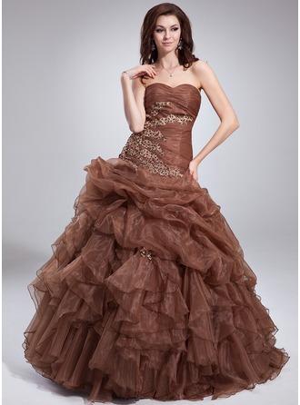 Duchesse-Linie Herzausschnitt Bodenlang Organza Quinceañera Kleid (Kleid für die Geburtstagsfeier) mit Perlen verziert Applikationen Spitze Gestufte Rüschen