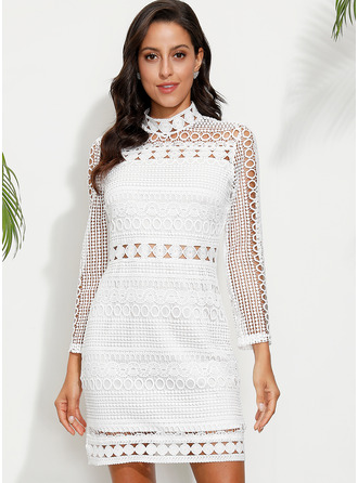 Lace Solid Sheath Long Sleeves Midi Casual Dresses