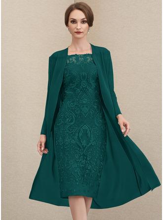 Платье-чехол Выкл-в-плечо Длина до колен Кружева Платье Для Матери Невесты