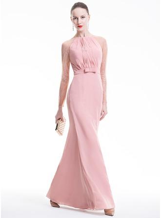 Sheath/Column Scoop Neck Floor-Length Chiffon Evening Dress With Ruffle Bow(s)