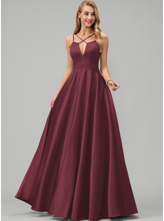 A-Line V-neck Floor-Length Satin Prom Dresses