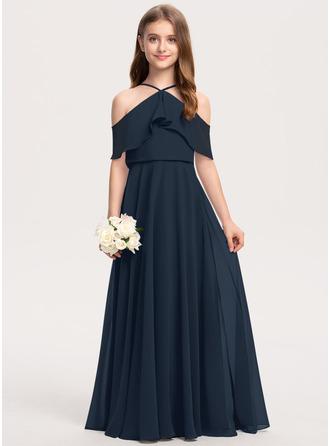 Çan Off-Omuz Uzun Etekli Şifon Küçük Nedime Elbisesi Ile Basamaklı Ruffles