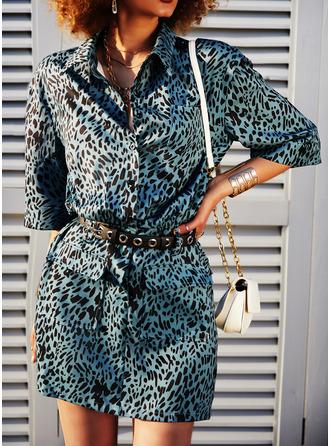Leopard Fodral 1/2 ärmar Mini Fritids Modeklänningar