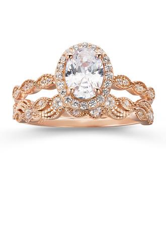 Plata esterlina Zirconia cúbica aureola Vendimia Corte Ovalado Anillos de compromiso Anillos de promesa Conjuntos de novia - Regalos De San Valentin