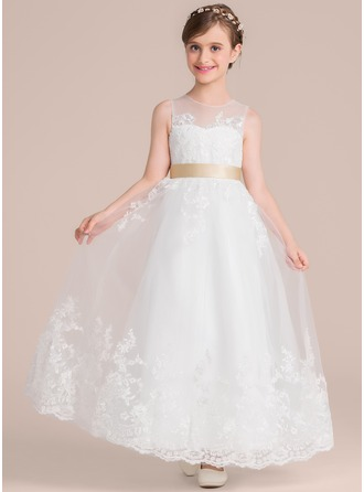 A-Line/Princess Scoop Neck Floor-Length Tulle Lace Junior Bridesmaid Dress With Sash Bow(s)