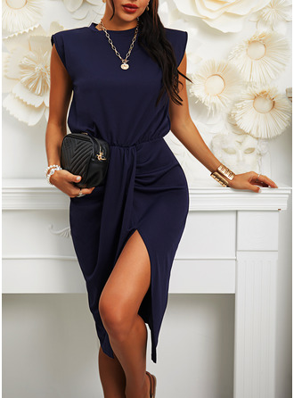 Solid Bodycon Sleeveless Midi Casual Elegant Pencil Dresses