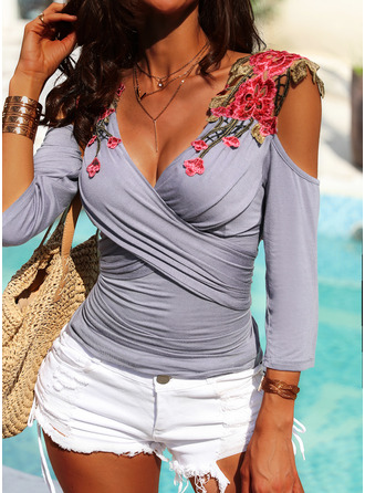 Embroidery Solid Cold Shoulder 3/4 Sleeves Casual