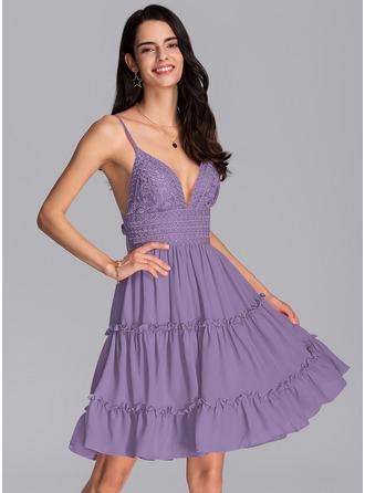 A-Line V-neck Knee-Length Chiffon Homecoming Dress With Bow(s) Cascading Ruffles