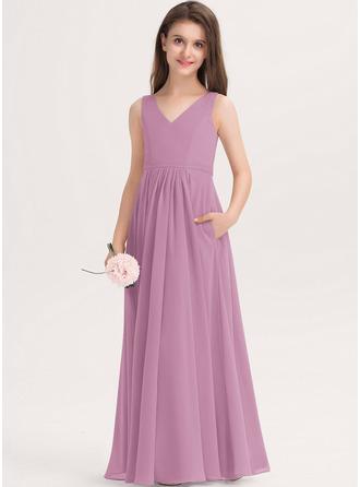 A-Line V-neck Floor-Length Chiffon Junior Bridesmaid Dress With Pockets