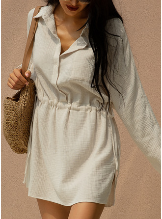 High Neck Shirt collar Cotton Blends Dresses