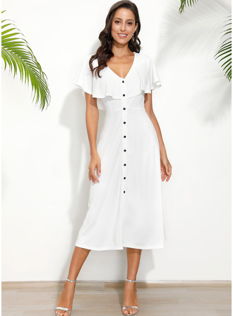 Midi V neck Polyester Button/Solid Short Sleeves Fashion Dresses