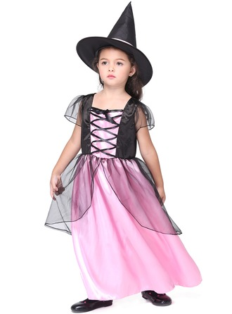 A-Line/Princess Ankle-length Flower Girl Dress - Polyester Short Sleeves Scoop Neck With Bow(s)