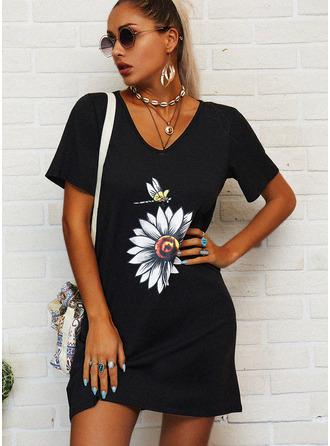 La copie Animale Fleurie Coupe droite Manches Courtes Mini Décontractée T-shirt Robes tendance