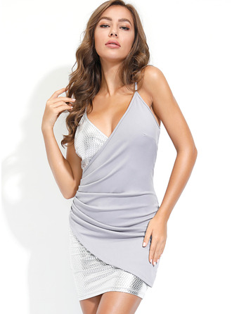 Above Knee V neck Polyester Sequins/Ruffles Sleeveless Fashion Dresses