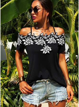 Embroidery Short Sleeves Polyester Cold Shoulder Blouses Blouses