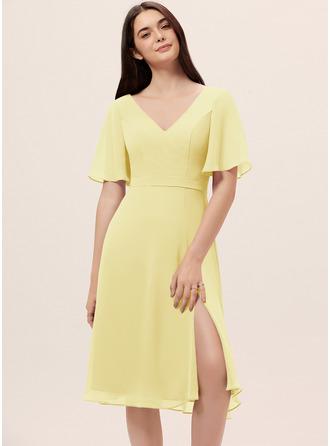 Chiffon Bridesmaid Dress With Split Front