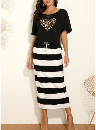 Leopard Striped Sheath Short Sleeves Midi Casual Dresses