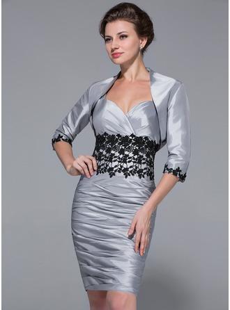 Etui-Linie Herzausschnitt Knielang Taft Kleid für die Brautmutter mit Rüschen Spitze