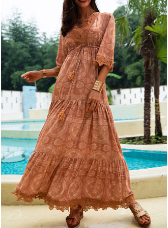 Lace Solid A-line 1/2 Sleeves Maxi Boho Casual Vacation Skater Dresses