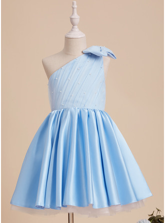 A-Line One-Shoulder Knee-length With Beading/Bow(s) Satin/Tulle Flower Girl Dress