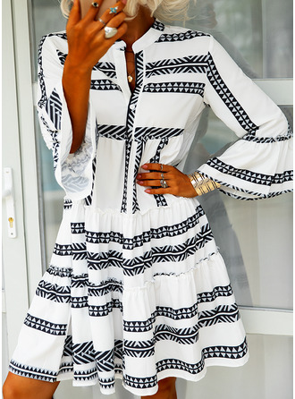 Print Shift 3/4 Sleeves Flare Sleeve Midi Casual Vacation Tunic Dresses