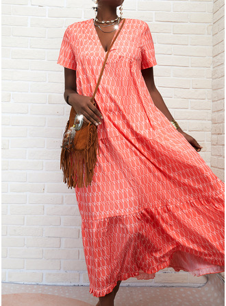 Print Shift Short Sleeves Maxi Casual Dresses