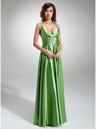 A-Linie/Princess-Linie V-Ausschnitt Bodenlang Charmeuse Festliche Kleid mit Rüschen Perlen verziert