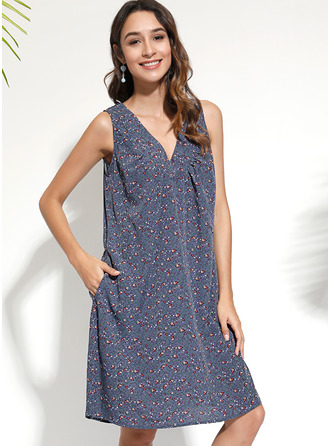 Print Shift Sleeveless Midi Boho Casual Vacation Tank Dresses