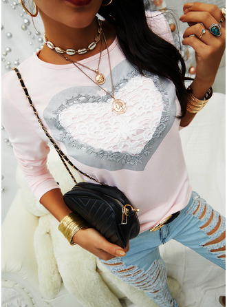 Lace Round Neck Long Sleeves Casual T-shirt