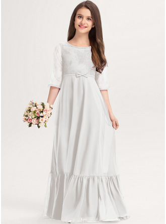 A-Line Scoop Neck Floor-Length Chiffon Lace Junior Bridesmaid Dress With Bow(s) Cascading Ruffles