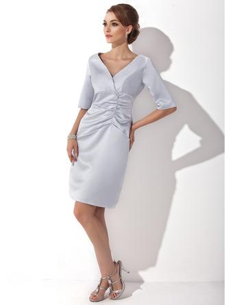 Vestido tubo Escote en V Hasta la rodilla Satén Vestido de madrina con Volantes
