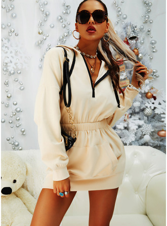 Einfarbig Figurbetont Lange Ärmel Mini Lässige Kleidung Pullover Modekleider