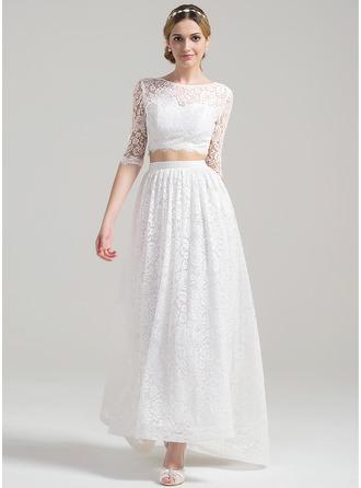 A-Line/Princess Scoop Neck Asymmetrical Lace Wedding Dress