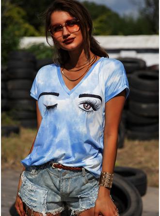 Tie Dye Imprimé Col V Manches Courtes Décontractée T-shirt