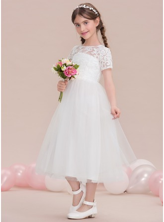 A-Line/Princess Scoop Neck Tea-Length Tulle Junior Bridesmaid Dress