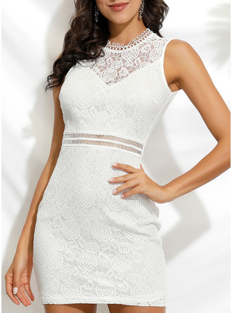 Lace Sheath Sleeveless Mini Party Casual Dresses