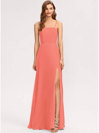 A-Line Square Neckline Floor-Length Chiffon Evening Dress With Split Front