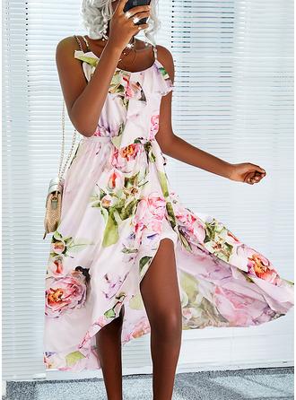 Bloemen Print A-lijn-jurk Asymmetrische Mouwloos Vakantie schaatser Typ ()