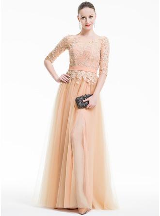 A-Line/Princess Scoop Neck Floor-Length Tulle Evening Dress With Appliques Lace Split Front