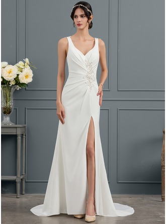Trumpet/Mermaid V-neck Court Train Satin Wedding Dress With Ruffle Lace Beading