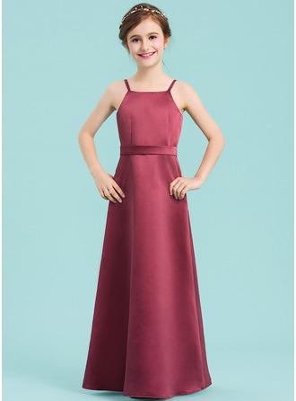 A-Line/Princess Square Neckline Floor-Length Satin Junior Bridesmaid Dress With Bow(s)