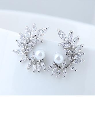 Luminoso La perla de faux Circón cobre con Perlas de imitación Circón De mujer Pendientes de la manera