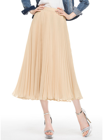 A-Line Tea-Length Chiffon Cocktail Dress With Pleated