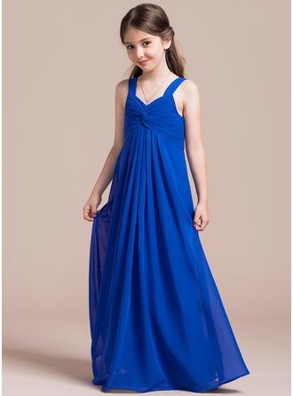 Empire-tyylinen Kultaseni Lattiaa hipova pituus Sifonki Nuorten morsiusneito mekko jossa Rypytys