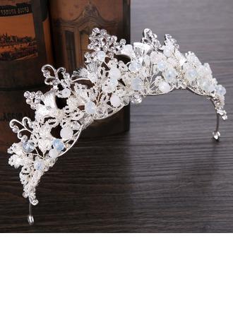 Señoras Moda Rhinestone/Aleación/La perla de faux Tiaras con Rhinestone/Perla Veneciano (Se venden en una sola pieza)