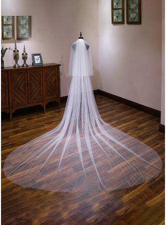 2 couches Bord de coupe Voiles de mariée cathédrale avec Dentelle