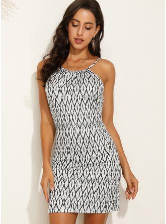 Above Knee Spaghetti Straps Polyester Print Sleeveless Fashion Dresses
