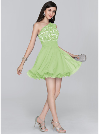 A-Line/Princess One-Shoulder Short/Mini Chiffon Homecoming Dress With Ruffle